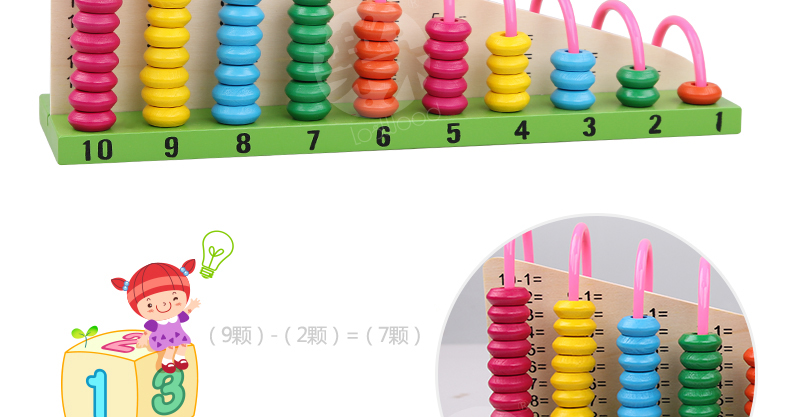 Wooden abacus Baby Math toys Rainbow Bead Classic montessori Mathematic Wooden Toy learning Early educational toy gift