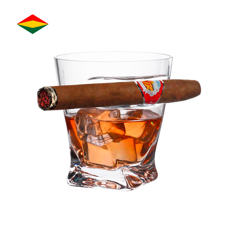 European Creative Shaped Cigar Cup Lead-Free Crystal Whiskey <strong>Glass</strong> With Cigar Holder