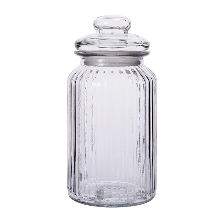 230ml 650ml 950ml 1350ml clear vertical striped glass storage jar for <strong>grains</strong> candy nut with glass lid