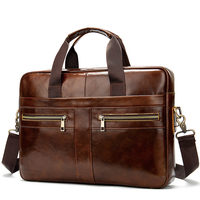 waterproof business laptop handbag shoulder bag genuine leather briefcase for men custom logo