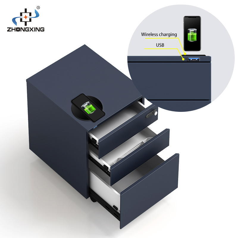 File cabinets <strong>manufacturer</strong> mobile cabinet customization Intelligent pedestal cabinet Wireless charging USB interface