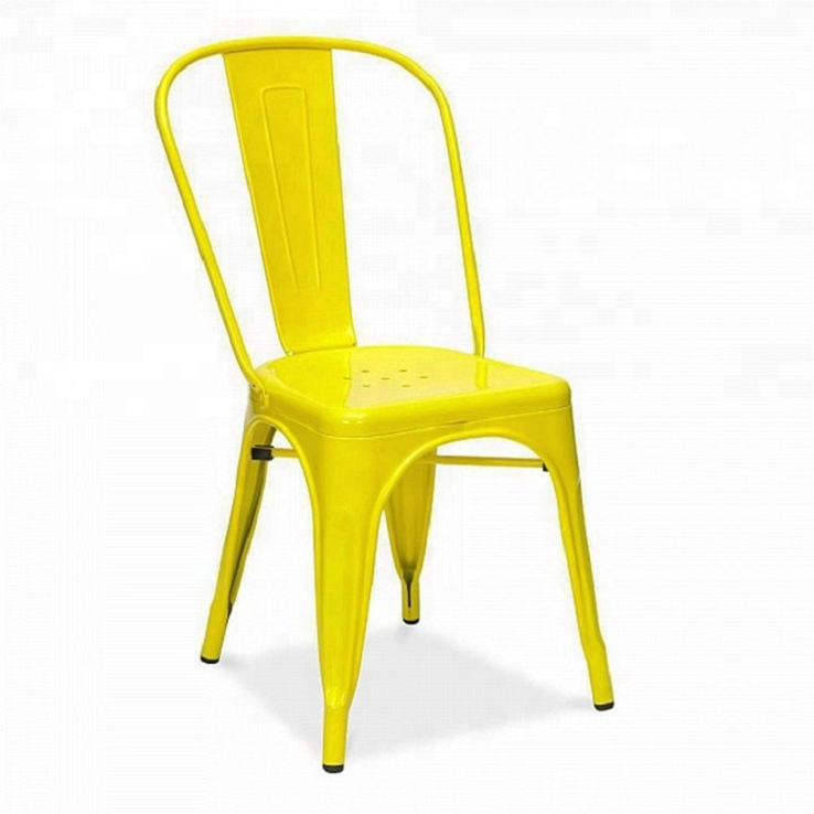 China Supplier Cheaper Price Vintage Industrial Colorful Stackable Black iron Frame Restaurant Dining Tolix Metal Chairs