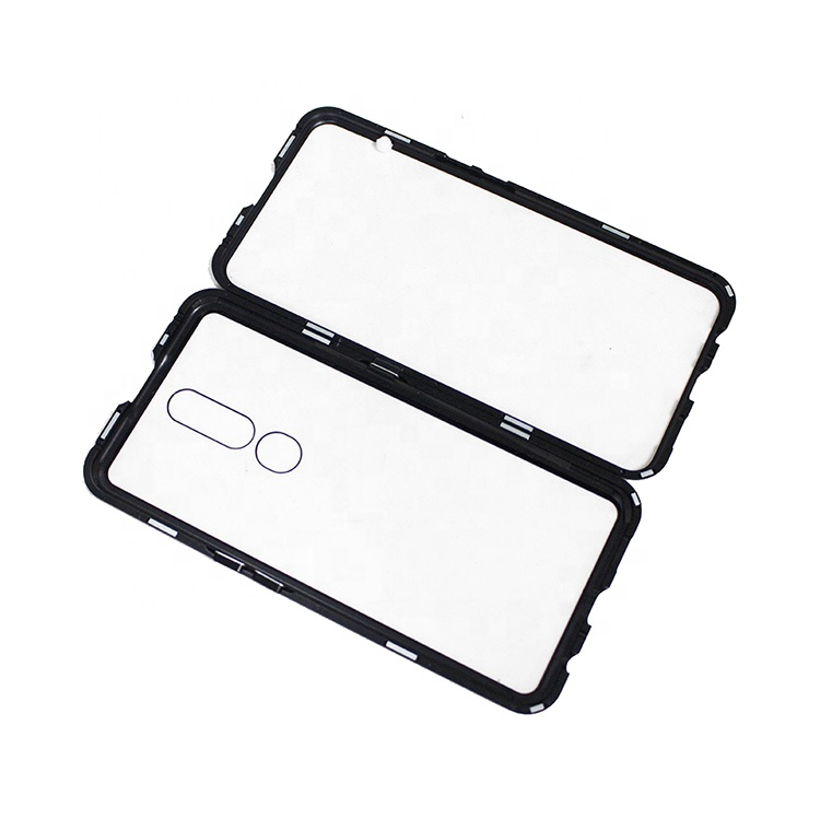 Clear Magnetic Flip Glass Phone Case Back Cover with Metal Bumper for Oppo A Reno2 F <strong>Z</strong> Reno K3 A9x A9 2020 A5 A11 A1k A7 F11 Pro