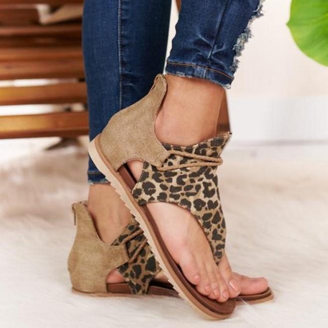 Latest Fashion Ladies Summer Beach Snake Shoes Brown Leopard Print Flat Sandals