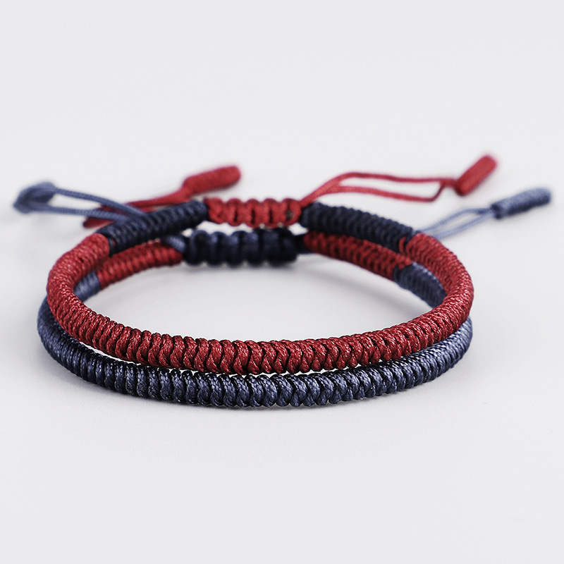 Hot Saling Fashion Handmade Weave Wax Cotton Rope Ethnic Friendship Knot Tassel Adjustable Bracelet