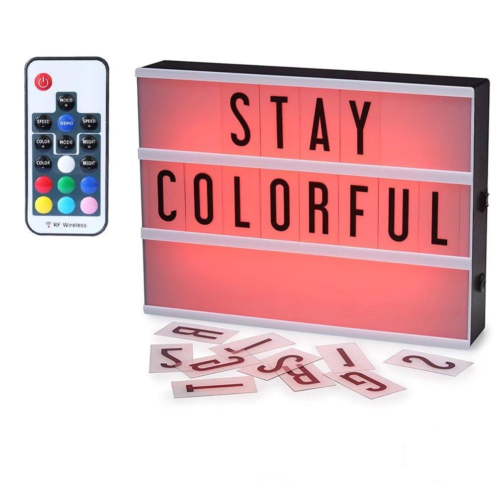 7 Color Changing Remote Control Cinematic A4 Light box Wireless Light Box with <strong>104</strong> Letters/Numbers LED