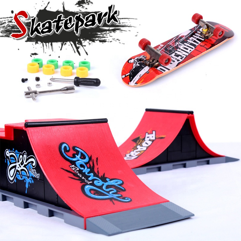 Novelty Ultimate ABS material Desktop Finger Skateboard <strong>Toys</strong> Training Props Skate Park Kit Ramp Parts