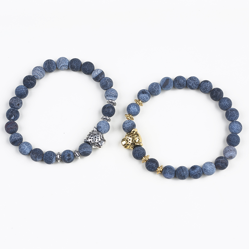 Custom 8mm Charm Beads Stretch Natural Stone Bead Bracelet For Couple