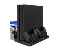 PS4 vertical stand Multi-function cooling stand for Sony <strong>playstation</strong> with dual controller charger station