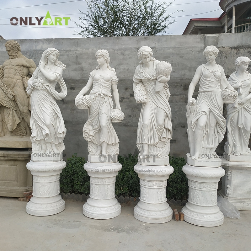 Outdoor natural stone hand carving four season lady statue