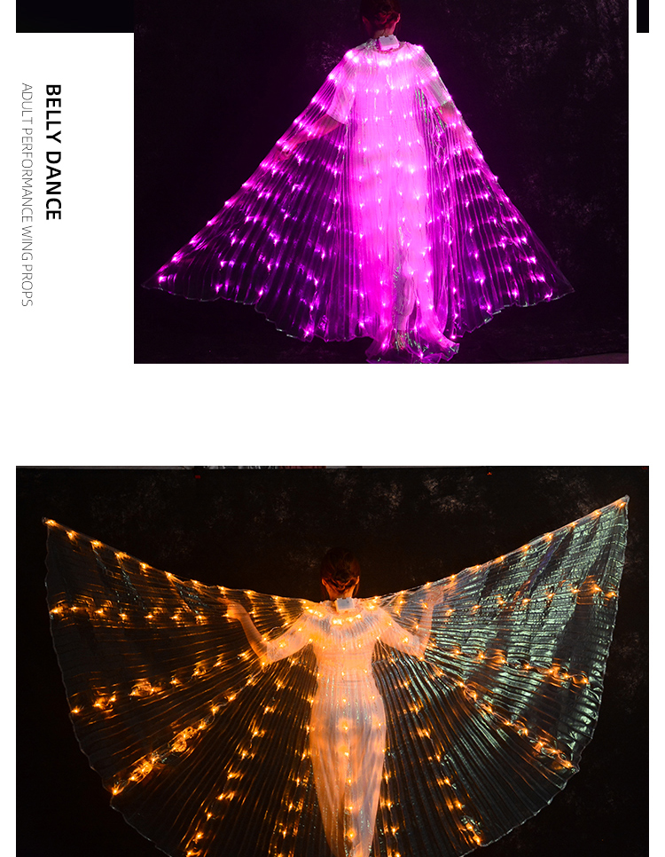 Brighter rainbow led light belly dance isis wings for stage props