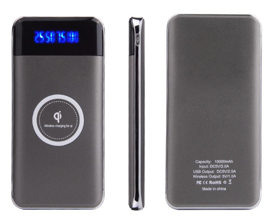 Slim Mini Portable Qi Wireless Power Bank 10000mah Dual USB <strong>Phone</strong> Charger External Battery Pack For All Mobile <strong>Phones</strong>