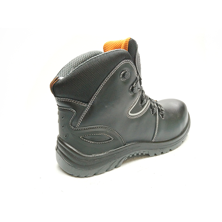 leather safety boots pu injection construction men working safety boots