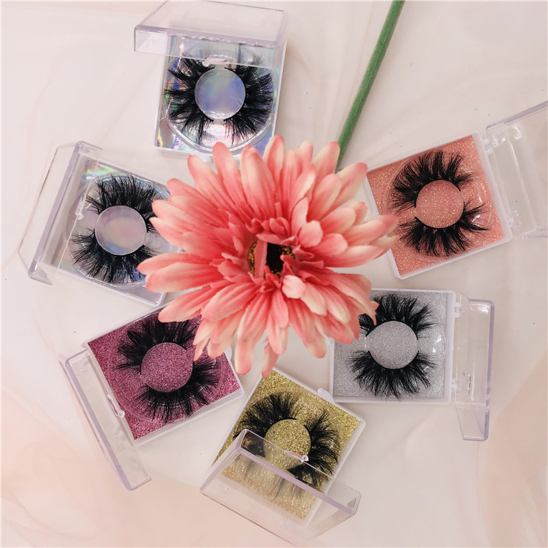 Private Label Cases clear square packaging mink 20mm lashes wholesale natural long 3d eyelashes