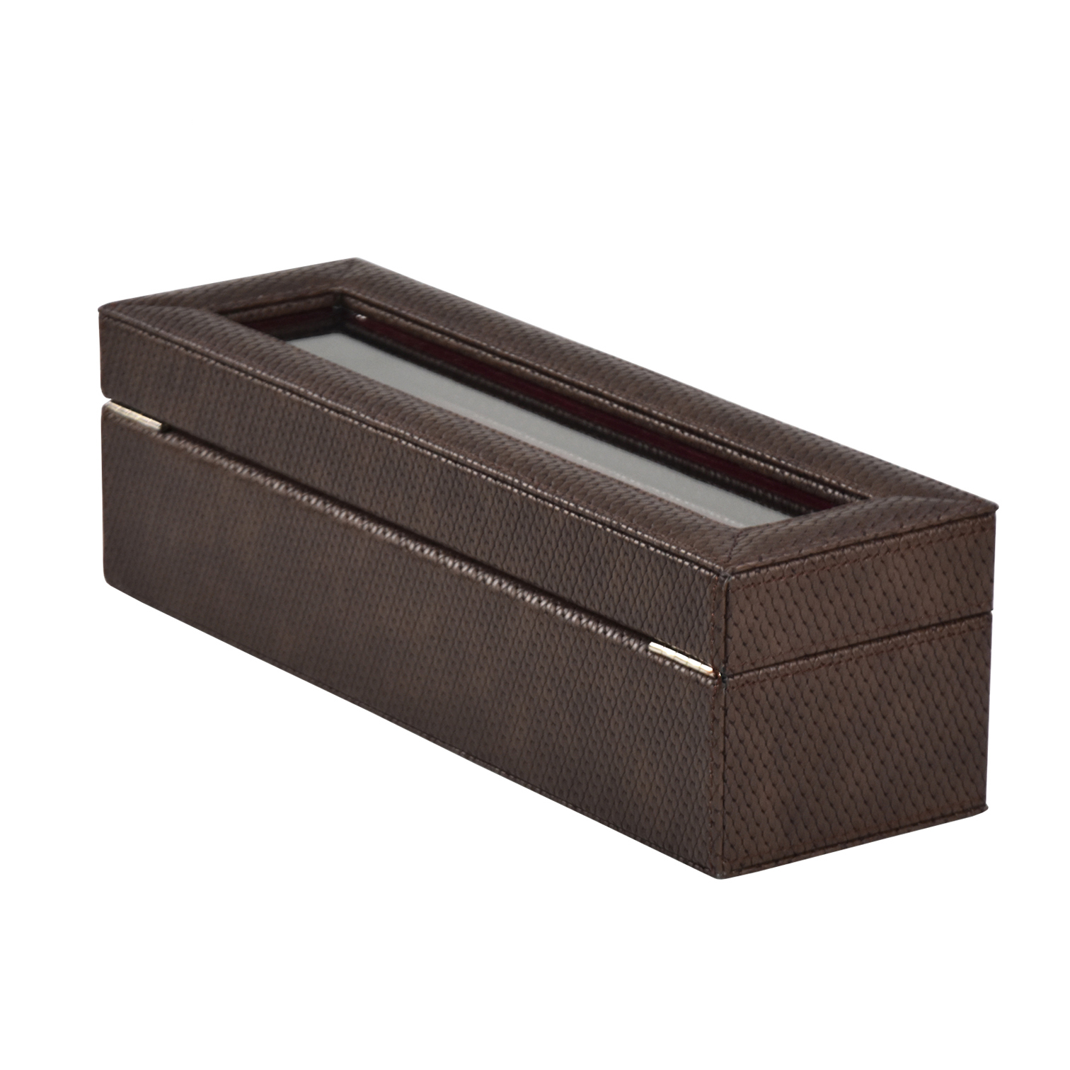 Luxury wooden leather 6-slot watch display box with pillows