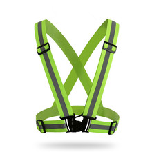 Wholesale elastic fluorescent green warning ribbon night walking reflective <strong>safety</strong> vest