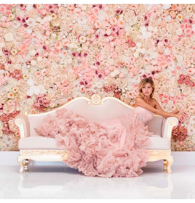 Artificial Flower Wall Backdrop 40X60CM Silk Rose Flower Champagne Wedding Decoration Flower Wall