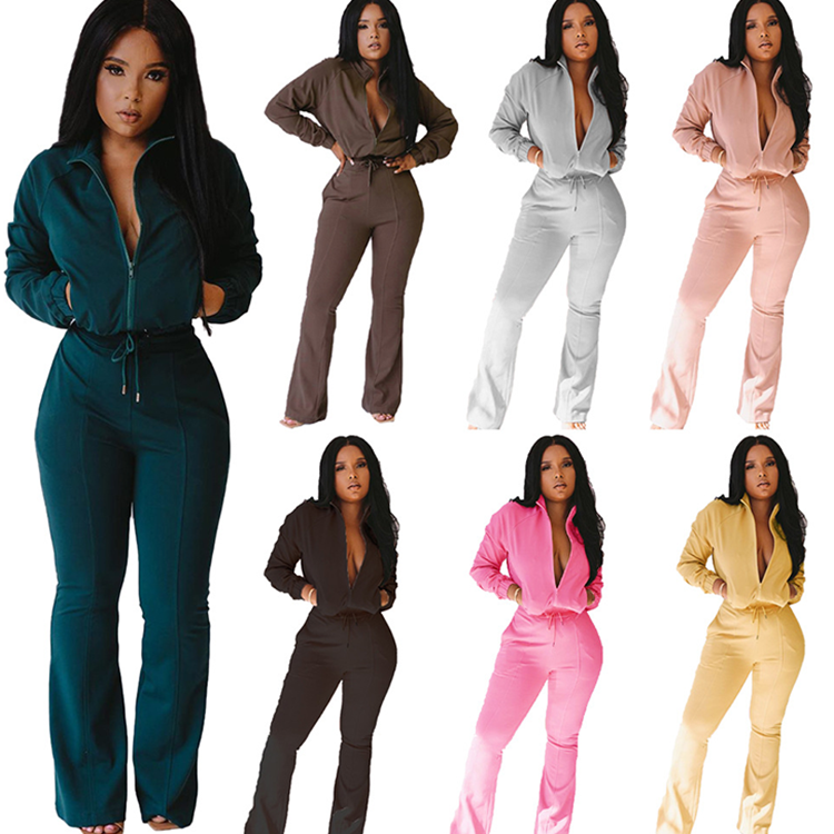 2020 Wholesale Lady 2 Pcs Zipper Bell Bottoms Solid Color Casual Tracksuit Winter Plus Size Autumn Women Two Piece <strong>Set</strong>