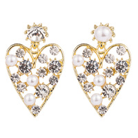 Fashionable Love Heart Shaped Drop Earrings New luxury jewelry Inlay Rhinestones and Pearl Large Stud Earrings For Party Girl