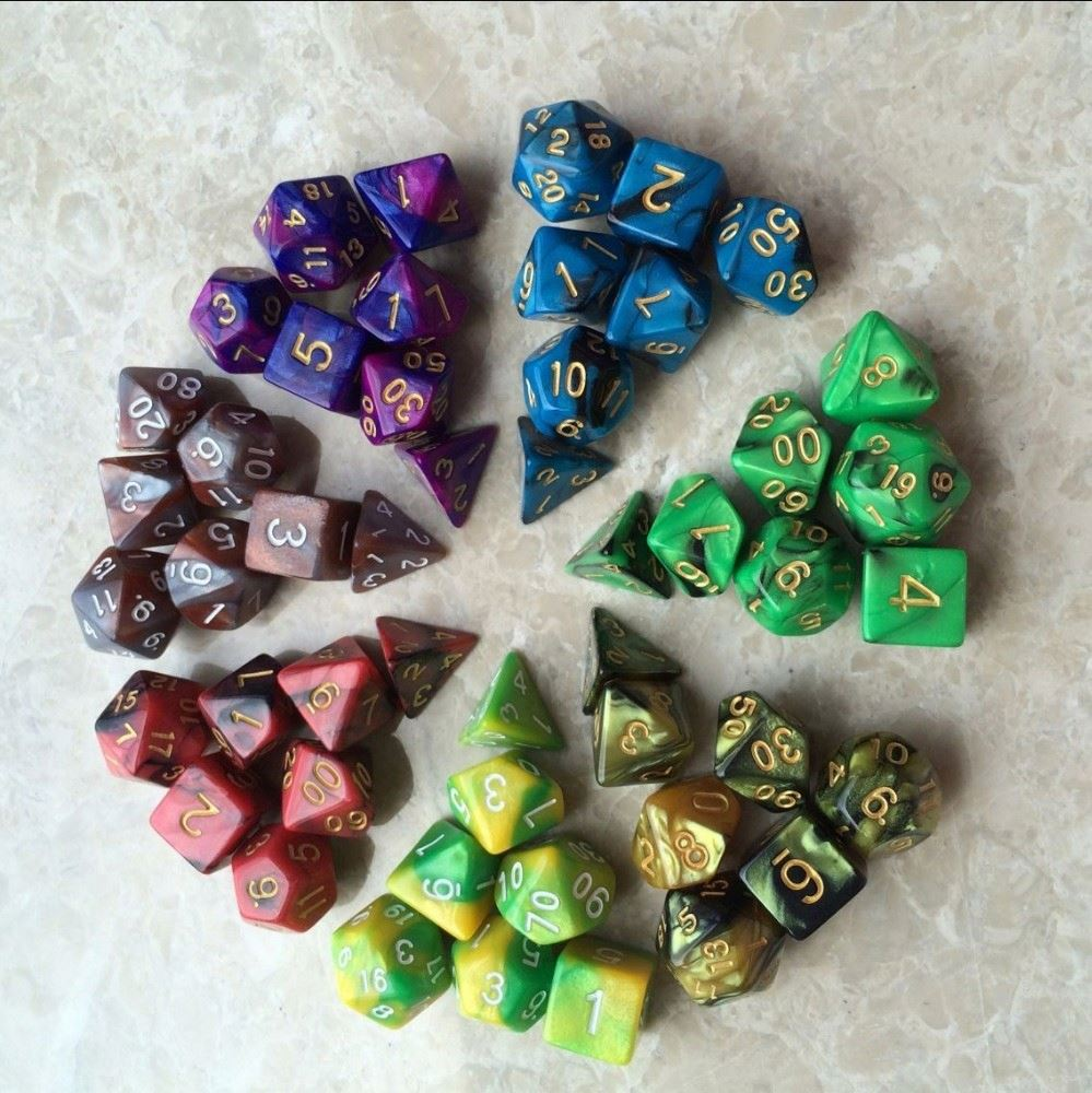 New 7pc lot dice set High quality Multi-Sided Dice with marble effect d4 d6 d8 d10 d10 <strong>d12</strong> d20 DUNGEON and DRAGONS rpg dice game