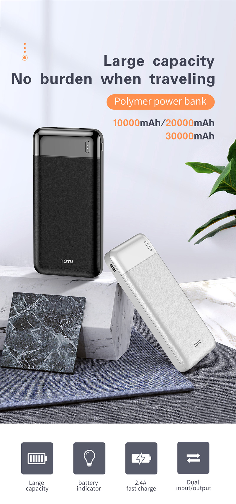 TOTU Joe series trending hot products dual usb 5V 2.4A quick charge slim portable power bank 10000mah