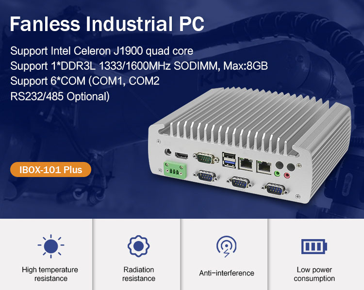 Embedded Fanless PC IBOX101 Plus J1900 Dual LAN, 4*RS232, 2*RS485