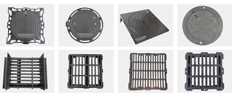 EN124 D400 End Hinged Cast Iron Drain Cover With Black Bitumen Coated