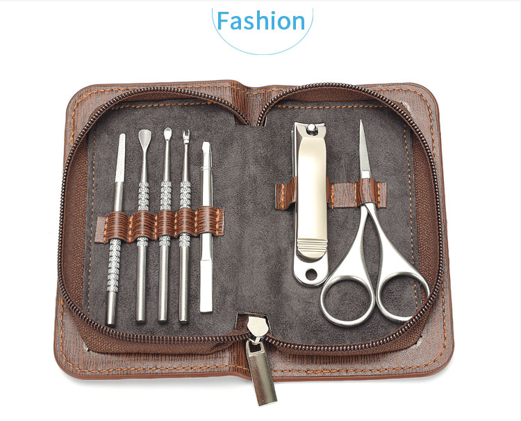 7pcs Professional Stainless Steel manicure Nail clipper set eyebrow tweezer/ scissors with Leather case