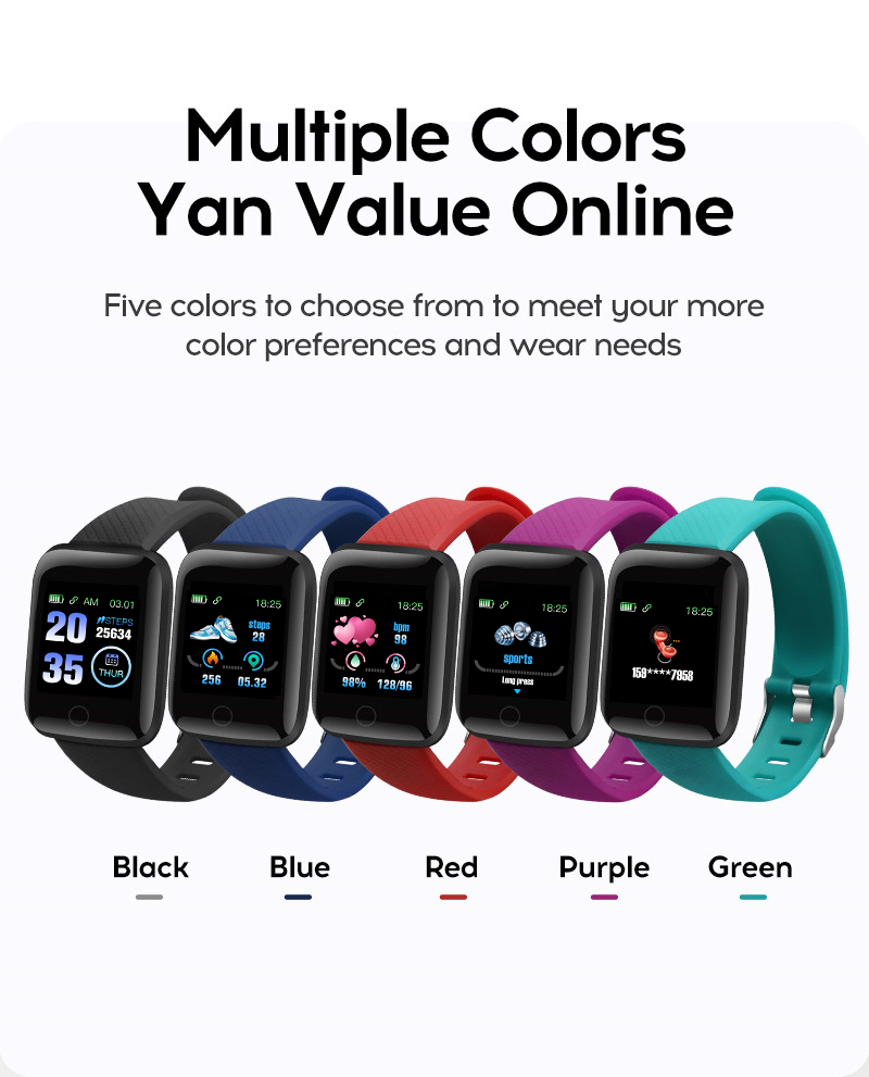 116Plus Smartwatch Smart Wristbands Fitness Sports Tracking Smart Watch Bracelet Blood Pressure Heart Rate Detection D13 watch