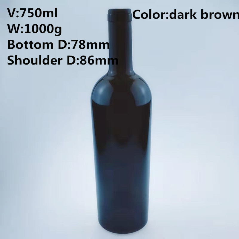 750ml food grade elegant thick strong glass bottles or red wine,champagne