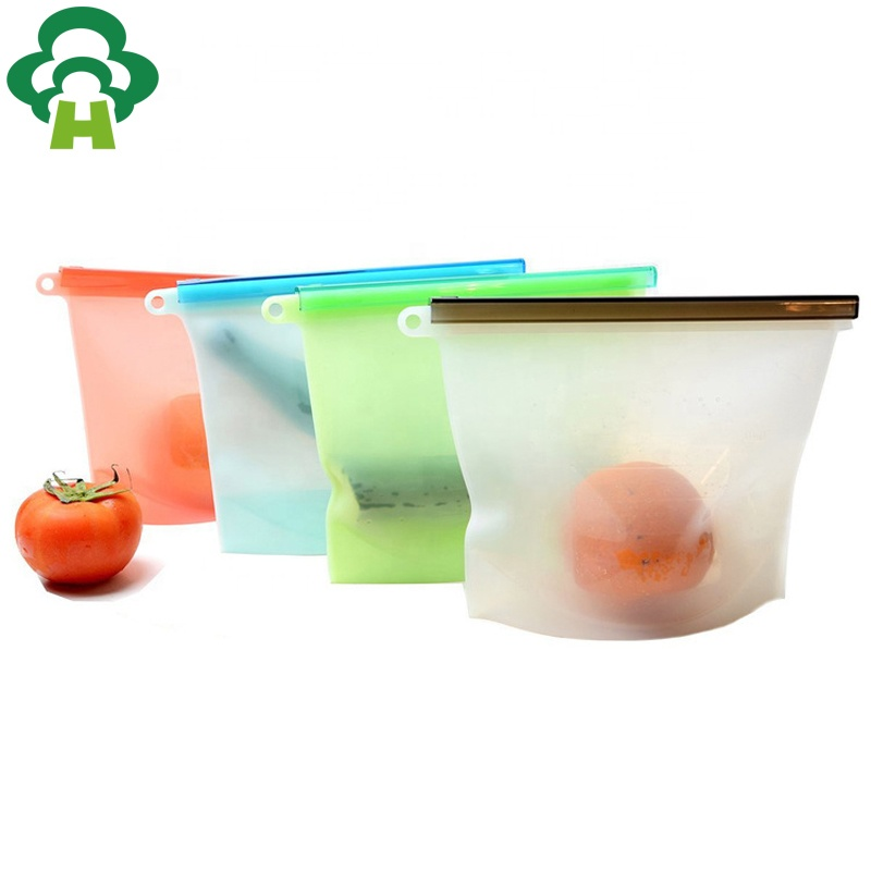 1000ml Zipper Top Sealing Reusable Silicone Food Bag Keeping Fresh Food Preservation Bag Reusable Silicone Food Storage Bag