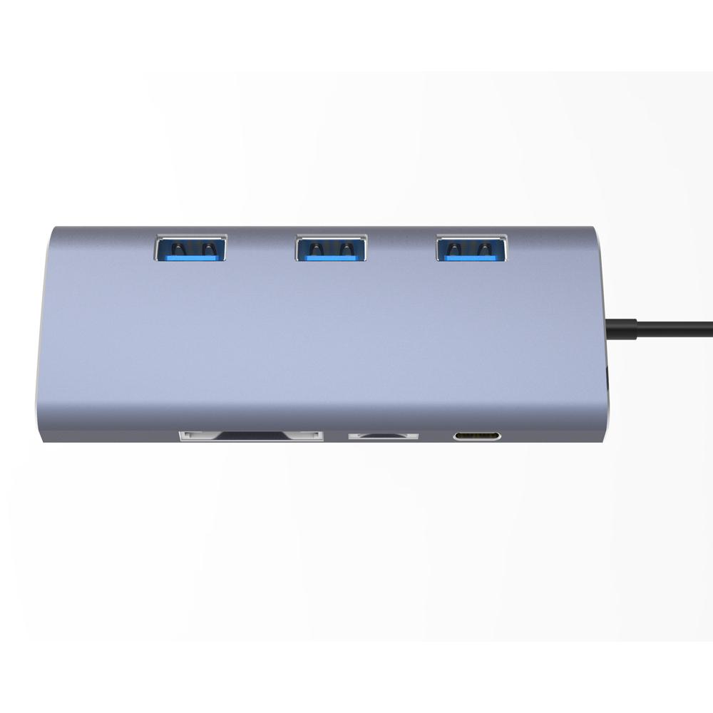 Factory price type <strong>c</strong> docking station 8 in 1 usb <strong>c</strong> hub with ethernet usb hub hd-mi,RJ45,3*USB 3.<strong>0</strong> ,SD/TF,Type-<strong>c</strong> port