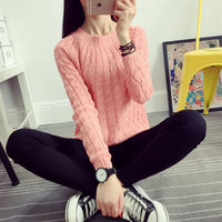 free sample new Korean version of women's students' pullover bottoming cotton sweater loose twist loose sweater