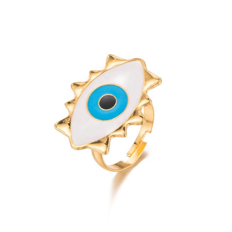 Queenie Brand Best Seller Adjustable Enamel 18K Gold Plated Rings <strong>Jewelry</strong> Women