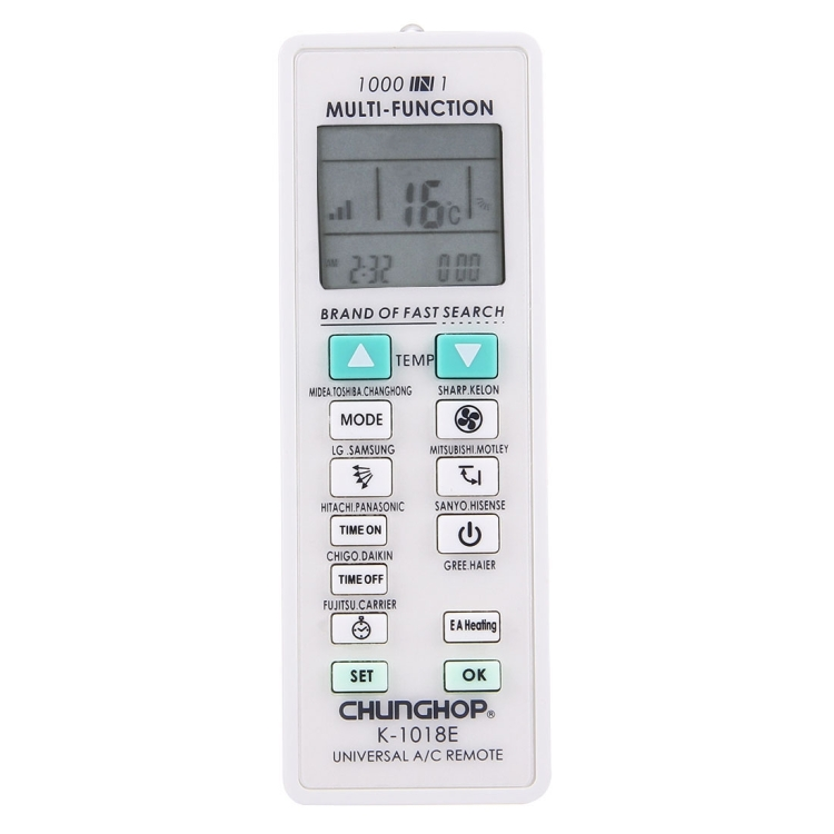 Factory Most popular CHUNGHOP K-1018E <strong>1000</strong> in 1 Universal Air-Conditioner Remote Controller