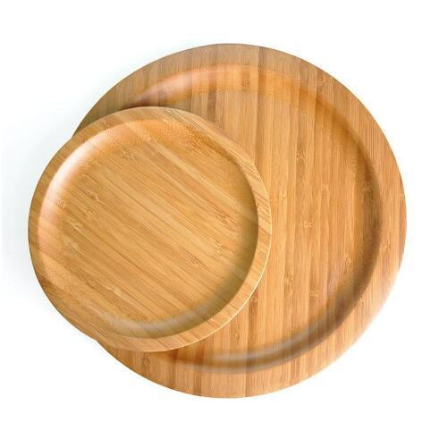 Round Natural M Size Bamboo Serving Trays Food Snack Candy Plate Tea Food Server Dishes Water Drink Platter Food Bamboo Tray