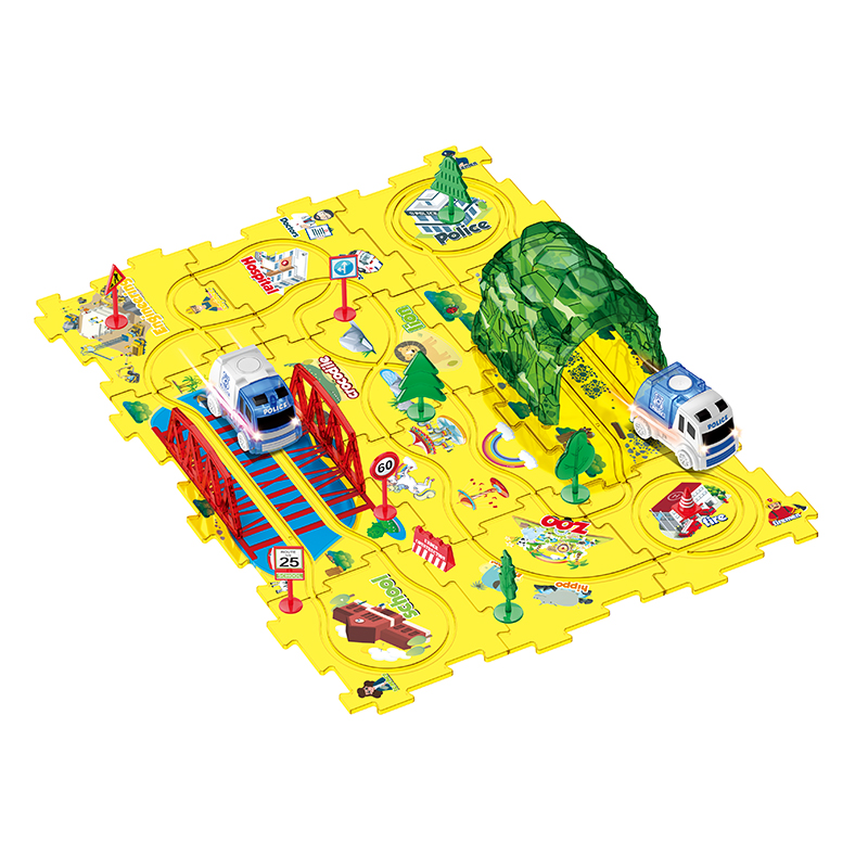 Glow In the Dark Police Series Puzzle Toys Track Play Set Battery Operated Car Toy Vehicle Floor Puzzle Play Mat for Kids
