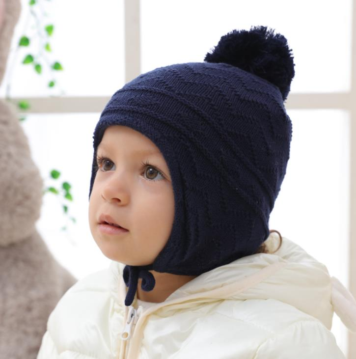 Fashion Cute Winter Thick Baby Knit Hat Protect Ears Warm Girl Baby Pom Pom Hat Baby Boy Winter <strong>Cap</strong>