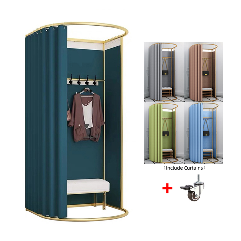 Custom High Quality Metal Movable Portable Fitting Room Mobile Dressing Room Portable Changing Room for <strong>Retail</strong>