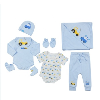 Organic Cotton Little Car Baby Clothing Sets Rompers with print Baby Gift Set