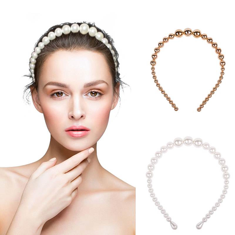 Elegant <strong>Hair</strong> <strong>Accessories</strong> Wide Gold Pearl Headwear Headbands Baroque Big White Pearl Headband for Women