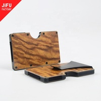 OEM/ODM environmental material slim wood wallet with money clip minimalist RFID wooden credit card holder