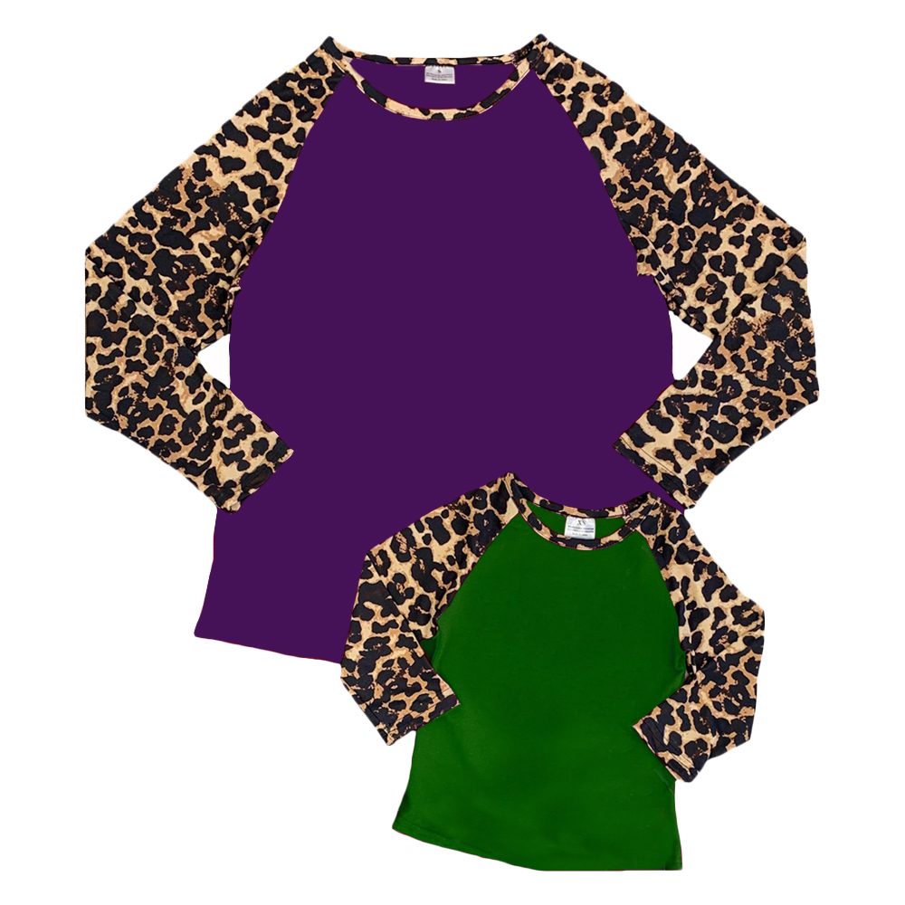 mom and me leopard print cotton shirt women mardi gras raglan t shirt 2020