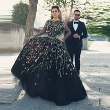 Latest Long Sleeve Black Evening <strong>Dresses</strong> 2018 With Colorful Lace Appliques Tulle <strong>Party</strong> <strong>Dress</strong> Long Prom Gown