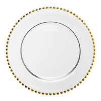 Factory Glass Wedding Plate Chargers 12.5 Inch Wholesale Wedding Plates Gold Beaded