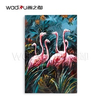 Fashion OEM Original Design Professional Canvas Print Wall Art Animal Flamingo Handmade Painting