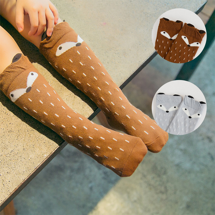 Unisex Lovely Cute Cartoon Fox Kids baby Socks Knee Girl Boy Baby Toddler Socks animal infant Soft Cotton socks 0-<strong>3</strong> <strong>Y</strong>