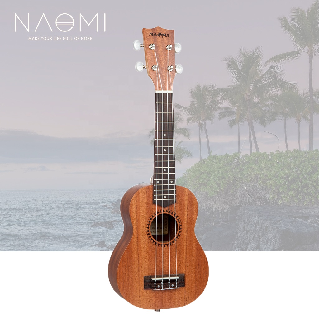 NAOMI 21 Inch China Ukulele Soprano Hawaii Guitar Musical Instruments Sapelewood Kit Ukulele <strong>W</strong>/Bag+Ukulele Turner