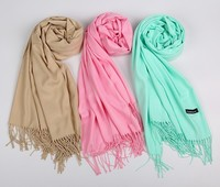 Fashion winter warm pure color imitations Pashmina fringe 250g shawl cashmere scarf