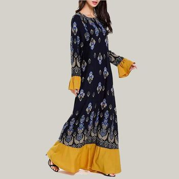 Hue Of Blue Printed Abaya Muslim Woman Casual Dress